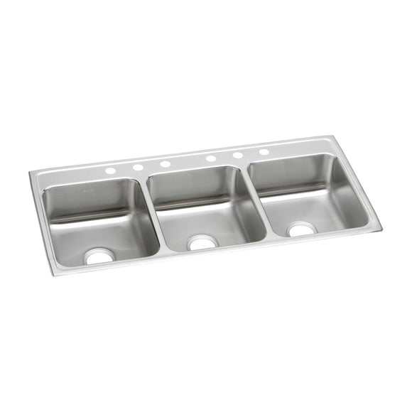 "Elkay LTR46226 Lustertone Stainless Steel 46"" x 22"" x 7-5/8"", Triple Bowl Top Mount Kitchen Sink"