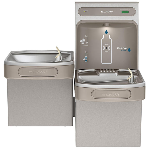 Elkay LZSTL8WSLK EZH2O Filling Station and Versatile Bi-Level ADA Water Cooler, Filtered 8 GPH Gray