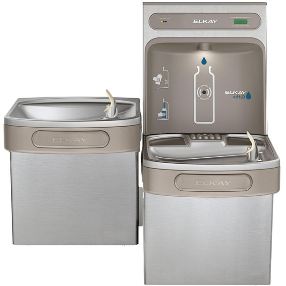 Elkay LZSTL8WSSK EZH2O Filling Station and Versatile Bi-Level ADA Water Cooler, Filtered 8 GPH
