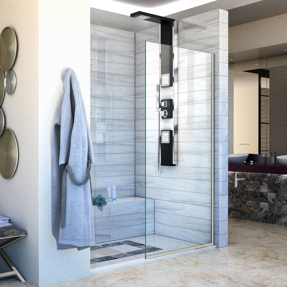 "DreamLine SHDR-3234721-04 Linea Single Panel Frameless Shower Screen 34""W x 72""H, Open Entry Design in Brushed Nickel"