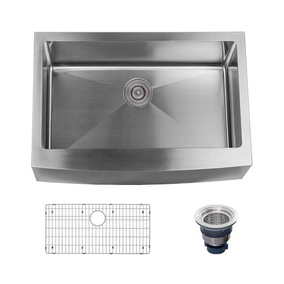 "Miseno MNO163020F Farmhouse 30"" Single Basin Stainless Steel Kitchen Sink"