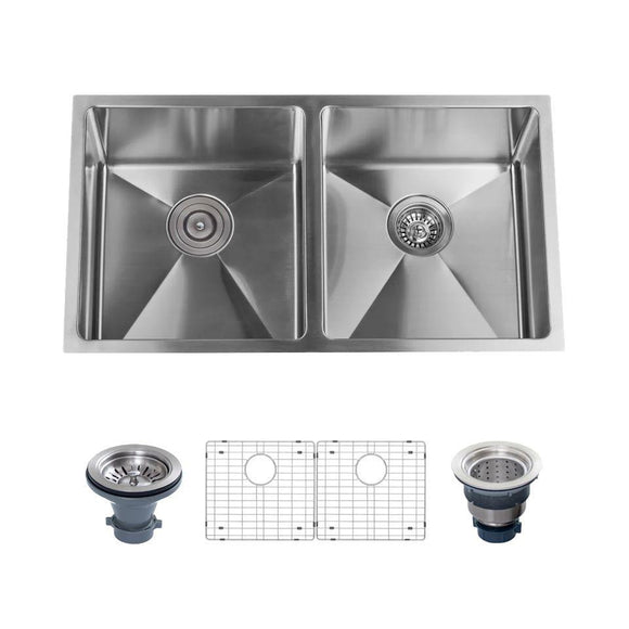 "Miseno MNO163219SR5050 32"" Undermount Double Basin Stainless Steel Kitchen Sink"
