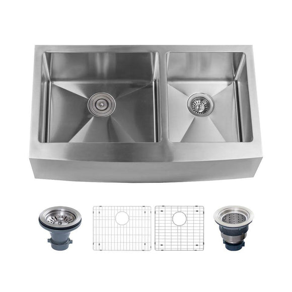 "Miseno MNO163320F6040 Farmhouse 33"" Double Basin Stainless Steel Kitchen Sink"