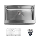 "Miseno MNO163320F Farmhouse 33"" Single Basin Stainless Steel Kitchen Sink"