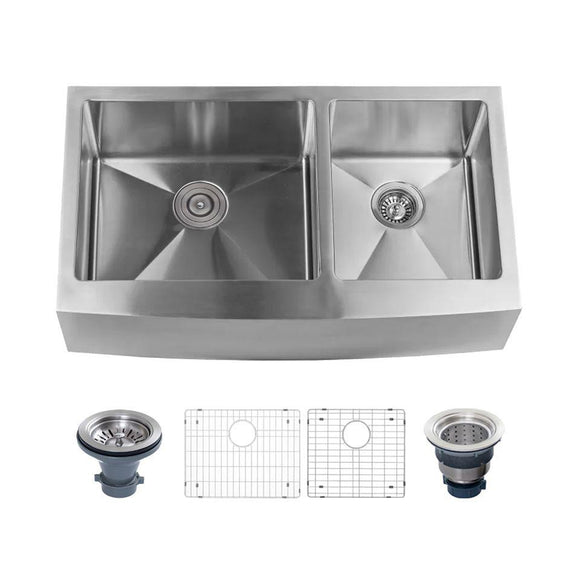 "Miseno MNO163620F6040 Farmhouse 36"" Double Basin Stainless Steel Kitchen Sink"