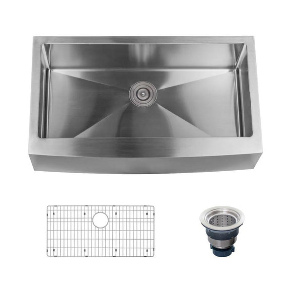 "Miseno MNO163620F Farmhouse 36"" Single Basin Stainless Steel Kitchen Sink"