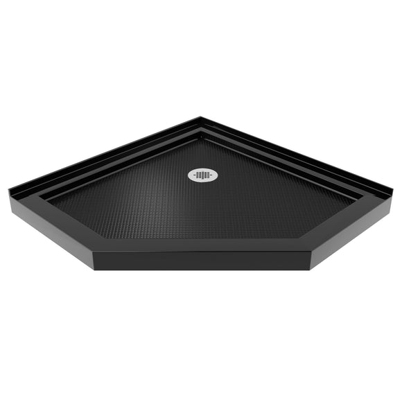 "DreamLine DLT-2040400-88 SlimLine 40""D x 40""W x 2 3/4""H Corner Drain Neo-Angle Shower Base in Black"