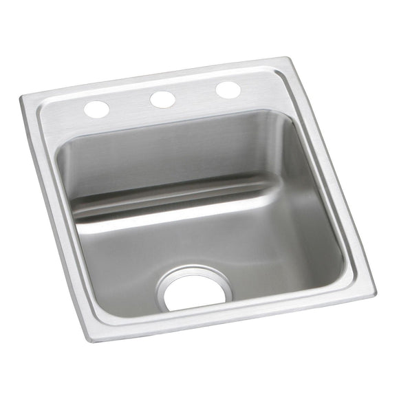 "Elkay PSR17201 Celebrity Stainless Steel 17"" x 20"" x 7-1/8"", Single Bowl Top Mount Kitchen Sink"