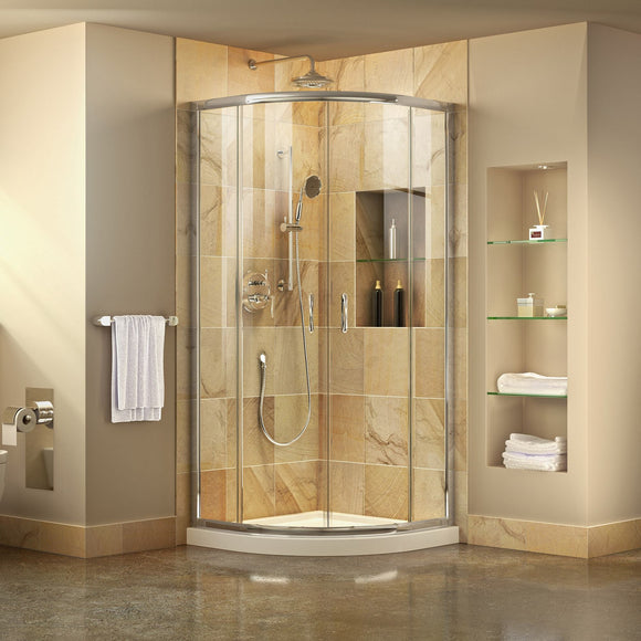 "DreamLine DL-6701-01CL Prime 33""x 74 3/4""Semi-Frameless Clear Glass Sliding Shower Enclosure in Chrome with White Base Kit - Bath4All"