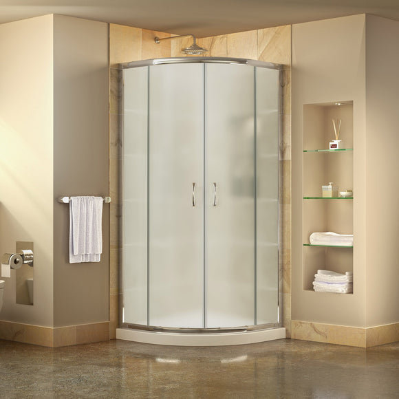 "DreamLine DL-6703-01FR Prime 38""x 74 3/4""Semi-Frameless Frosted Glass Sliding Shower Enclosure in Chrome with White Base Kit"