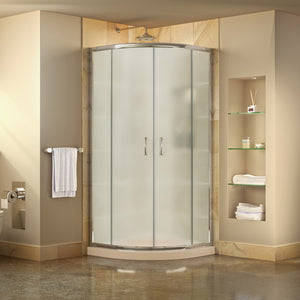 "DreamLine DL-6701-22-01FR Prime 33""x 74 3/4""Semi-Frameless Frosted Glass Sliding Shower Enclosure in Chrome with Biscuit Base"