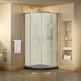 "DreamLine DL-6703-89-01FR Prime 38""x 74 3/4""Semi-Frameless Frosted Glass Sliding Shower Enclosure in Chrome with Black Base Kit"