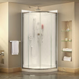 "DreamLine DL-6152-01FR Prime 33""x 76 3/4""Semi-Frameless Frosted Glass Sliding Shower Enclosure in Chrome with White Base and Backwalls"