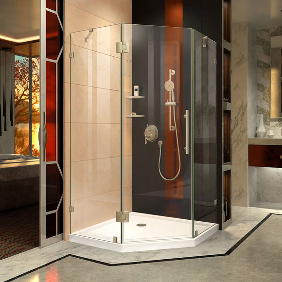 "DreamLine DL-6053-04 Prism Lux 42""x 74 3/4""Fully Frameless Neo-Angle Shower Enclosure in Brushed Nickel with White Base"