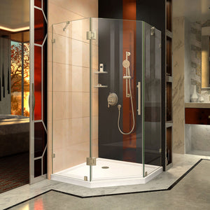 "DreamLine DL-6050-04 Prism Lux 36""x 74 3/4""Fully Frameless Neo-Angle Shower Enclosure in Brushed Nickel with White Base"