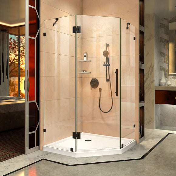 "DreamLine DL-6050-06 Prism Lux 36""x 74 3/4""Fully Frameless Neo-Angle Shower Enclosure in Oil Rubbed Bronze with White Base"