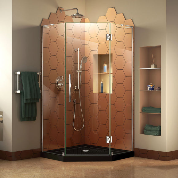 "DreamLine DL-6061-88-01 Prism Plus 38""x 74 3/4""Frameless Neo-Angle Shower Enclosure in Chrome with Black Base"