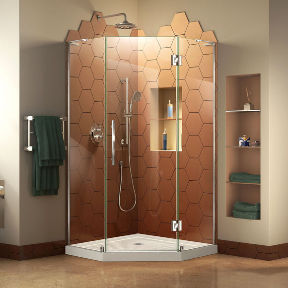 "DreamLine DL-6063-01 Prism Plus 42""x 74 3/4"" Frameless Neo-Angle Shower Enclosure in Chrome with White Base"
