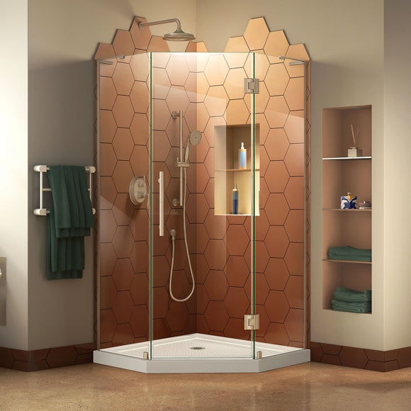 "DreamLine DL-6061-04 Prism Plus 38""x 74 3/4"" Frameless Neo-Angle Shower Enclosure in Brushed Nickel with White Base"