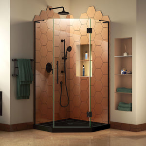 "DreamLine DL-6060-88-09 Prism Plus 36""x 74 3/4""Frameless Neo-Angle Shower Enclosure in Satin Black with Black Base"