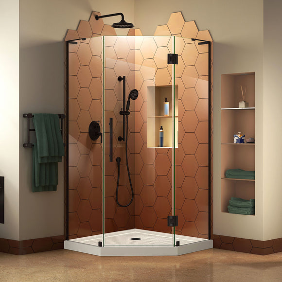 "DreamLine DL-6062-09 Prism Plus 40""x 74 3/4""Frameless Neo-Angle Shower Enclosure in Satin Black with White Base"