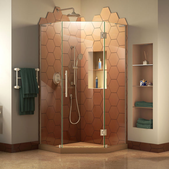 "DreamLine SHEN-2638380-04 Prism Plus 38""x 72""Frameless Neo-Angle Hinged Shower Enclosure in Brushed Nickel"