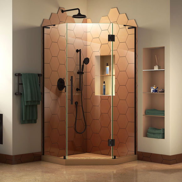 "DreamLine SHEN-2634340-09 Prism Plus 34""x 72""Frameless Neo-Angle Hinged Shower Enclosure in Satin Black"