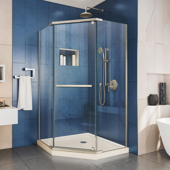 "DreamLine DL-6031-22-04 Prism 38""x 74 3/4""Frameless Neo-Angle Pivot Shower Enclosure in Brushed Nickel with Biscuit Base"