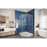 "DreamLine DL-6032-22-04 Prism 40""x 74 3/4"" Frameless Neo-Angle Pivot Shower Enclosure in Brushed Nickel with Biscuit Base"