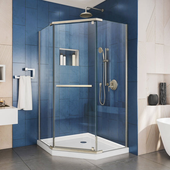 "DreamLine SHEN-2140400-04 Prism 40 1/8""x 72""Frameless Neo-Angle Neo-Angle Pivot Shower Enclosure in Brushed Nickel"