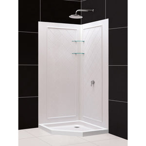 "DreamLine DL-6047C-01 42""x 42""x 76 3/4""H Neo-Angle Shower Base and QWALL-4 Acrylic Corner Backwall Kit in White"