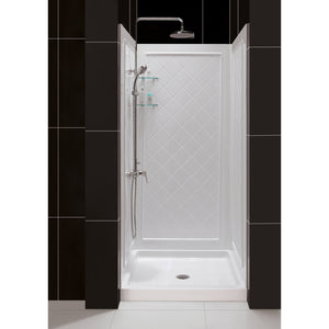 "DreamLine DL-6194C-01 36""D x 36""W x 76 3/4""H Center Drain Acrylic Shower Base and QWALL-5 Backwall Kit In White - Bath4All"