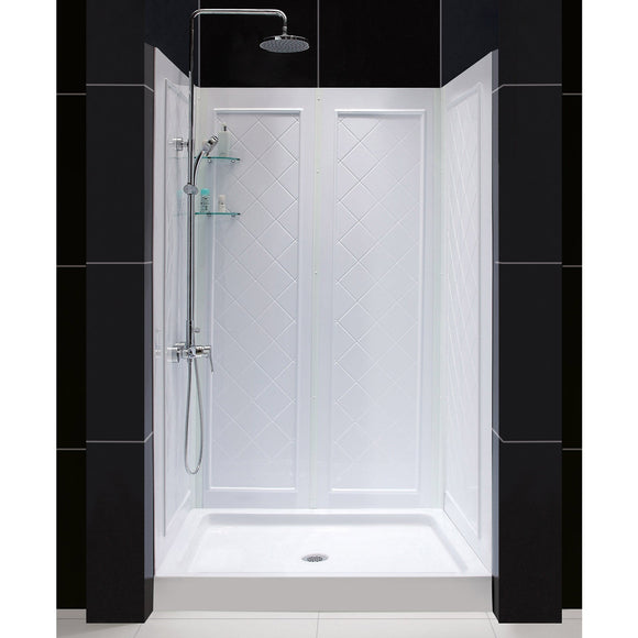 "DreamLine DL-6070C-01 32""D x 48""W x 76 3/4""H Center Drain Acrylic Shower Base and QWALL-5 Backwall Kit In White"