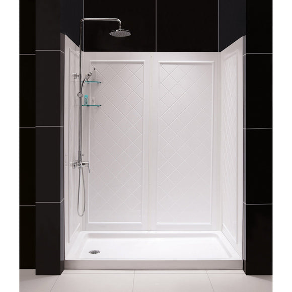 "DreamLine DL-6192L-01 36""D x 60""W x 76 3/4""H Left Drain Acrylic Shower Base and QWALL-5 Backwall Kit In White - Bath4All"