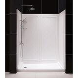 "DreamLine DL-6189L-01 30""D x 60""W x 76 3/4""H Left Drain Acrylic Shower Base and QWALL-5 Backwall Kit In White"