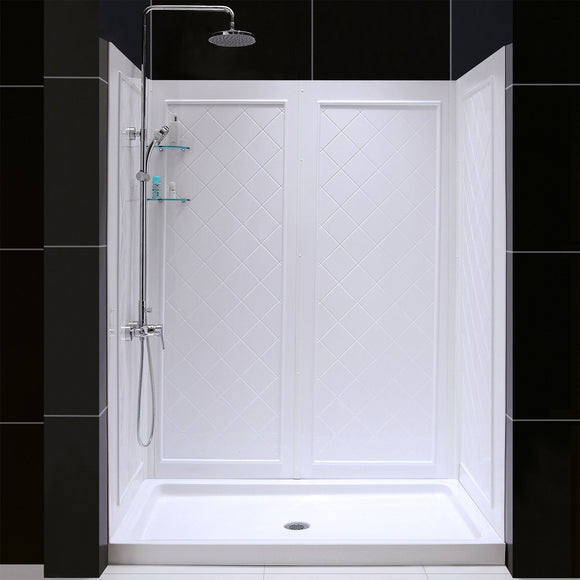 "DreamLine DL-6190C-01 32""D x 60""W x 76 3/4""H Center Drain Acrylic Shower Base and QWALL-5 Backwall Kit In White"