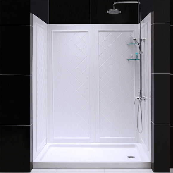 "DreamLine DL-6191R-01 34""D x 60""W x 76 3/4""H Right Drain Acrylic Shower Base and QWALL-5 Backwall Kit In White"