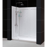 "DreamLine DL-6118L-04FR Infinity-Z 34""D x 60""W x 76 3/4""H Frosted Sliding Shower Door in Brushed Nickel, Left Drain Base, Backwalls"