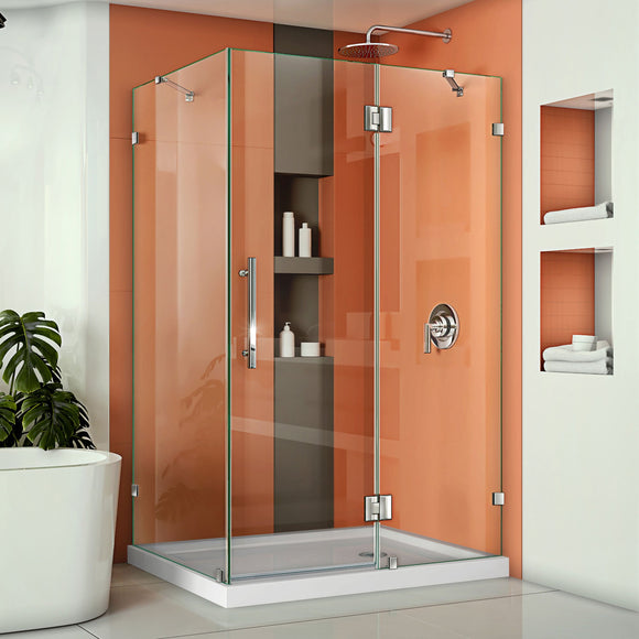 "DreamLine SHEN-1334460-01 Quatra Lux 34 1/4""D x 46 3/8""W x 72""H Frameless Hinged Shower Enclosure in Chrome"