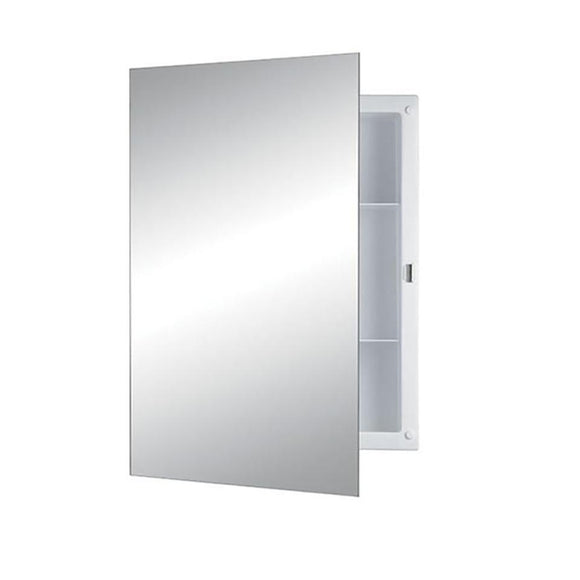 Jensen 781037 Frameless Medicine Cabinet with Mirror Door and Two Shelves