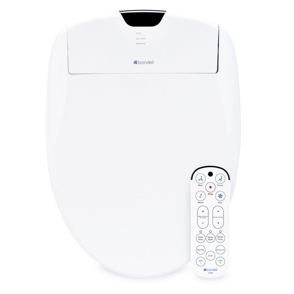 Brondell Swash 1400 Luxury Bidet Round Toilet Seat in White with Dual Nozzles