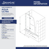 "DreamLine SHDR-3448580-EX-01 Aqua Ultra 57-60""W x 58""H Frameless Hinged Tub Door with Extender Panel in Chrome"