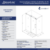 "DreamLine SHEN-6134600-07 Enigma-X 34 1/2""D x 60 3/8""W x 76""H Fully Frameless Sliding Shower Enclosure in Brushed Stainless Steel"