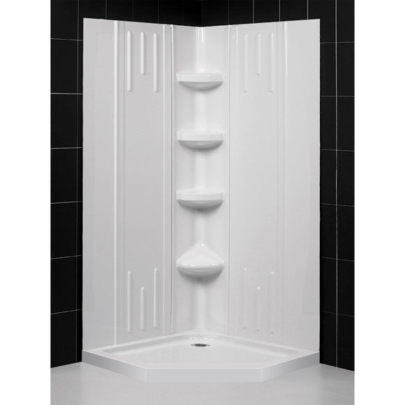 "DreamLine DL-6042C-01 40""x 40""x 75 5/8""H Neo-Angle Shower Base and QWALL-2 Acrylic Corner Backwall Kit in White"