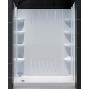 "DreamLine DL-6146L-01 32""D x 60""W x 75 5/8""H Left Drain Acrylic Shower Base and QWALL-3 Backwall Kit In White"