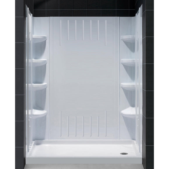 "DreamLine DL-6145R-01 30""D x 60""W x 75 5/8""H Right Drain Acrylic Shower Base and QWALL-3 Backwall Kit In White"