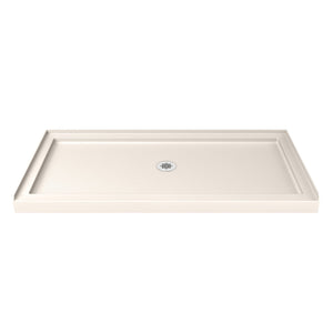 "DreamLine DLT-1136600-22 SlimLine 36""D x 60""W x 2 3/4""H Center Drain Single Threshold Shower Base in Biscuit"