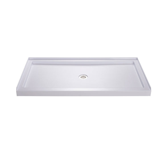 "DreamLine DLT-1132600 SlimLine 32""D x 60""W x 2 3/4""H Center Drain Single Threshold Shower Base in White"