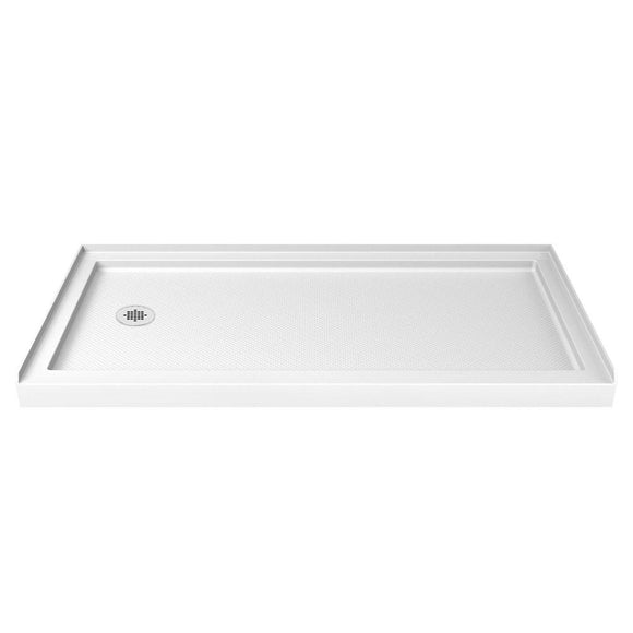 "DreamLine DLT-1134601 SlimLine 34""D x 60""W x 2 3/4""H Left Drain Single Threshold Shower Base in White"