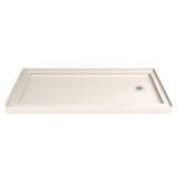 "DreamLine DLT-1132602-22 SlimLine 32""D x 60""W x 2 3/4""H Right Drain Single Threshold Shower Base in Biscuit"